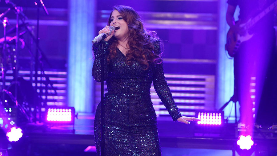 Meghan Trainor falls at The Tonight Show