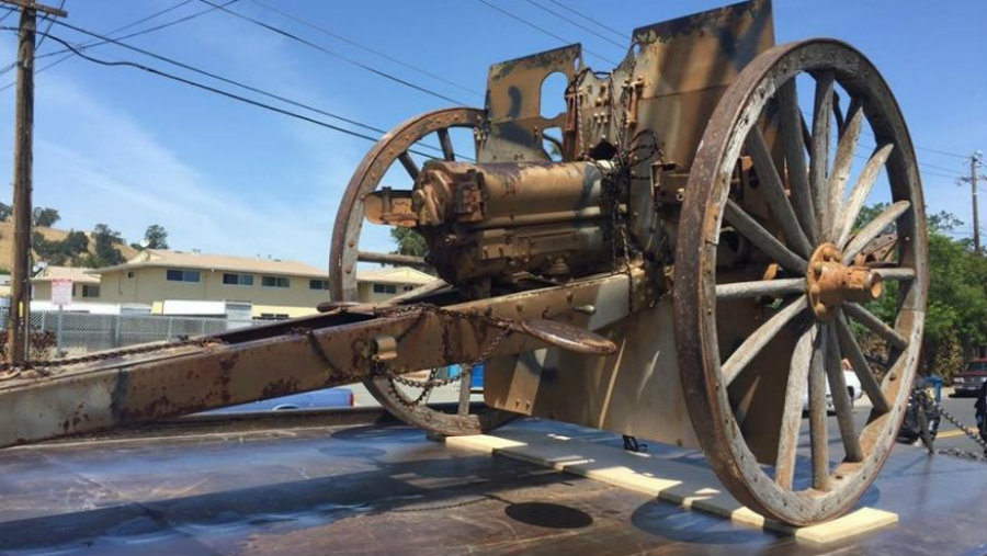 A one-ton cannon from World War I was stolen from the California veterans hall earlier this month. Photo credit: Fox News