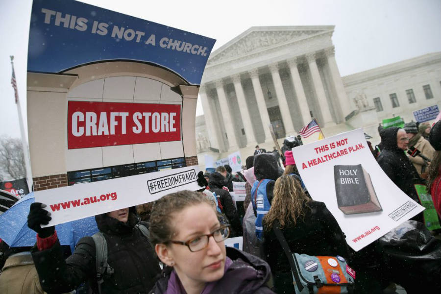Supporters of contraception rally before Zubik v. Burwell is heard by the U.S. Supreme Court in Washington. Image Credit: Rolling Stone