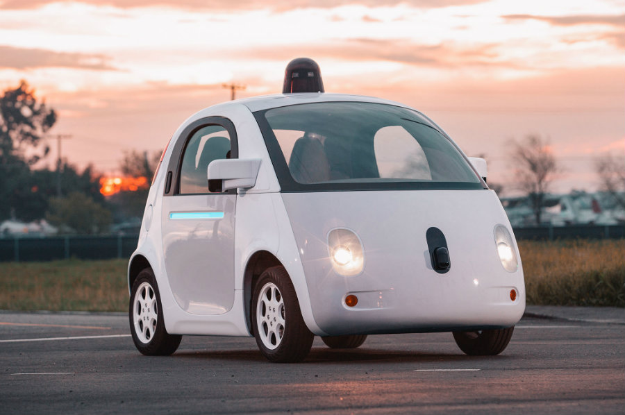 Google's solution to avoid smart cars colliding into pedestrians is a glue-embedded hood to which pedestrians are expected to stick, just like flies. Photo credit: Automobile Magazine
