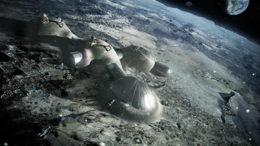 As seen above, an artist's depiction of what a human settlement on the Moon could look like.