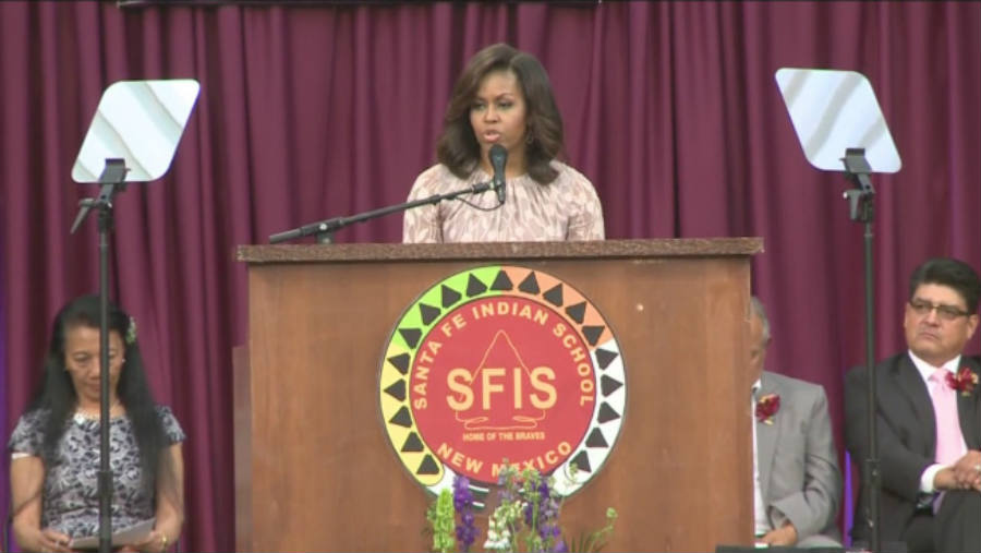 The first lady also warned the audience about social threats at Thursday's commencement speech at SFIS