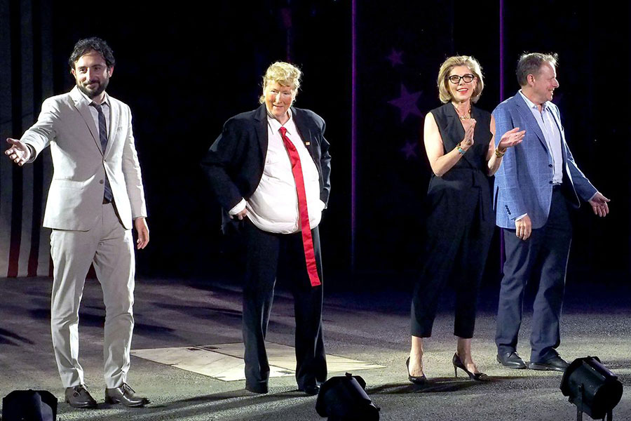 Meryl Streep performs as Donald Trump