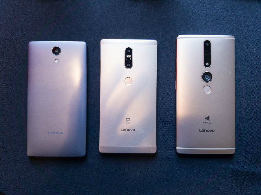 Lenovo Phab 2 Pro, the first world's smartphone with Google's Project Tango, a platform that uses computer vision to enable smartphones and tablets to detect position about the world through GPS and sensors. Photo credit: The Verge