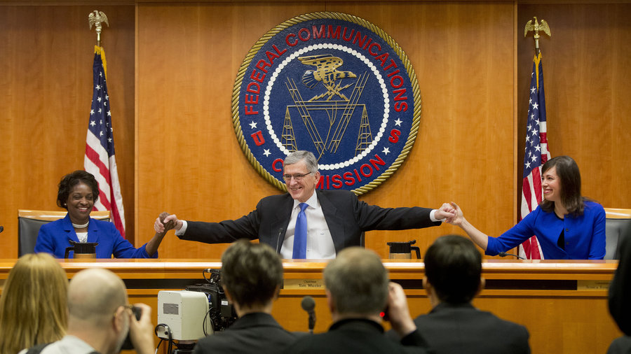 """D.C. appeals court upheld Federal Communication Commission rules that require internet service providers to obey so-called """"net neutrality"""" principles. Image Credit: NPR"""