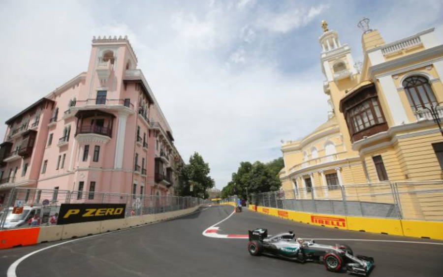 The layout of the exciting new Hermann Tilke-designed Baku European Grand Prix street circuit. Image Credit: Telegraph