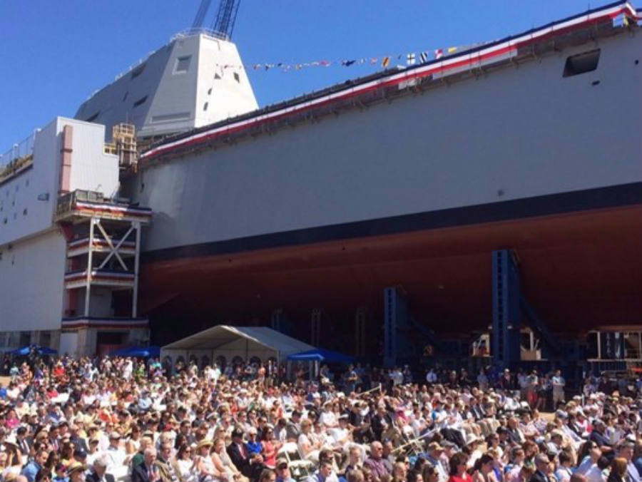 As seen above, mothers of fallen SEAL officers gather around the new 2nd class Zumwalt destroyer. Image Credit: WCSH6