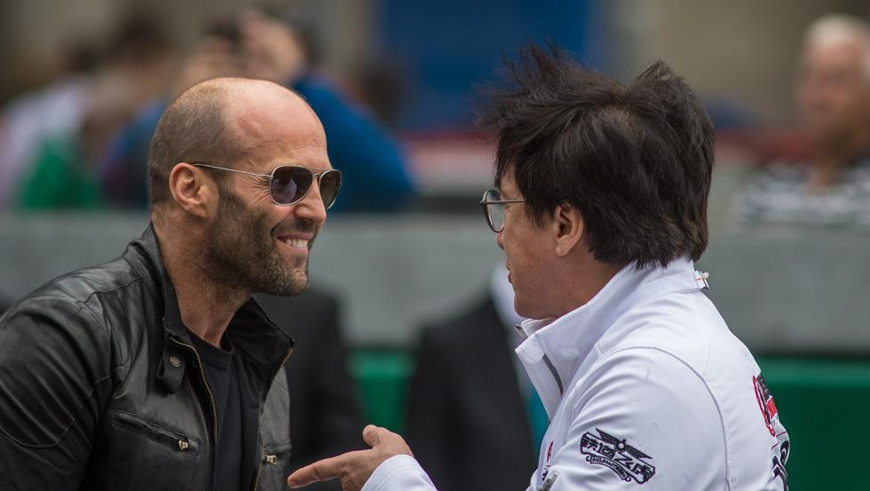Jackie Chan was photographed alongside Jason Statham and Brad Pitt at Le Mans event held on Sunday. Image Credit: MundoDeportivo