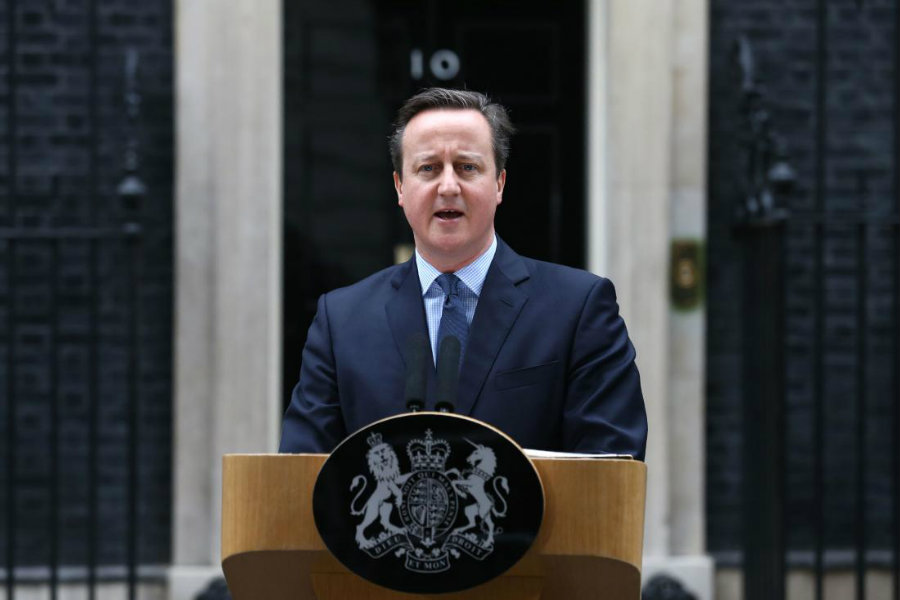 David Cameron makes a statement to the media outside 10 Downing Street in London on Feb. 20, 2016. Photo by Justin Tall, ATP/ TIME