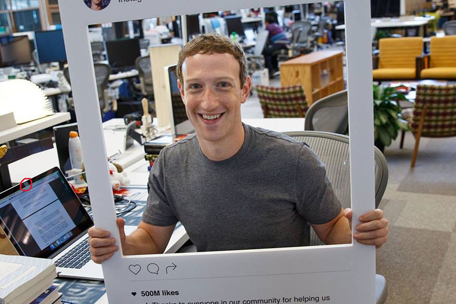 Zuckerberg tapes his webcam