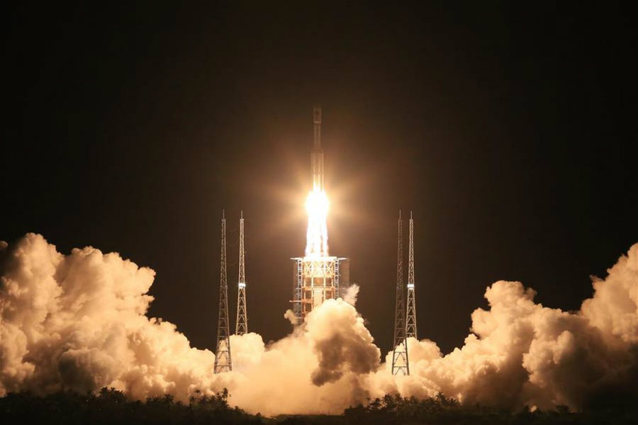 China launched its Long March-7 carrier on Saturday as part of the country's five-year plan for the space sector. Photo credit: Xinhua / The Verge