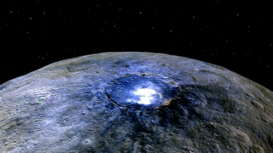 Astronomers have asked themselves about the bright spots on Ceres' surface and what do they mean. Now, researchers claim these bright spots represent water accumulations, shining throughout space thanks to the sun's reflection. Image Credit: QZ