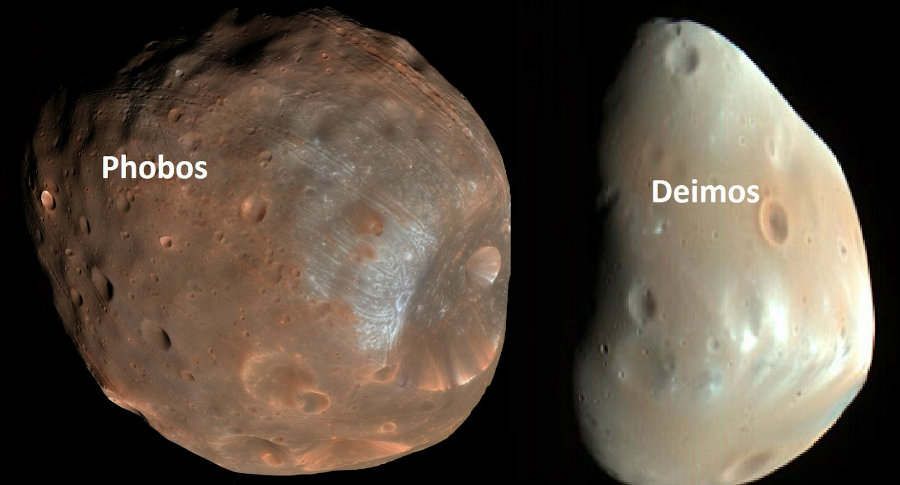 Phobos and Deimos, the two natural satellites of Mars, may have been originated from the debris of a giant collision, a new study finds. Photo credit: Vaishus-site.blogspot.com