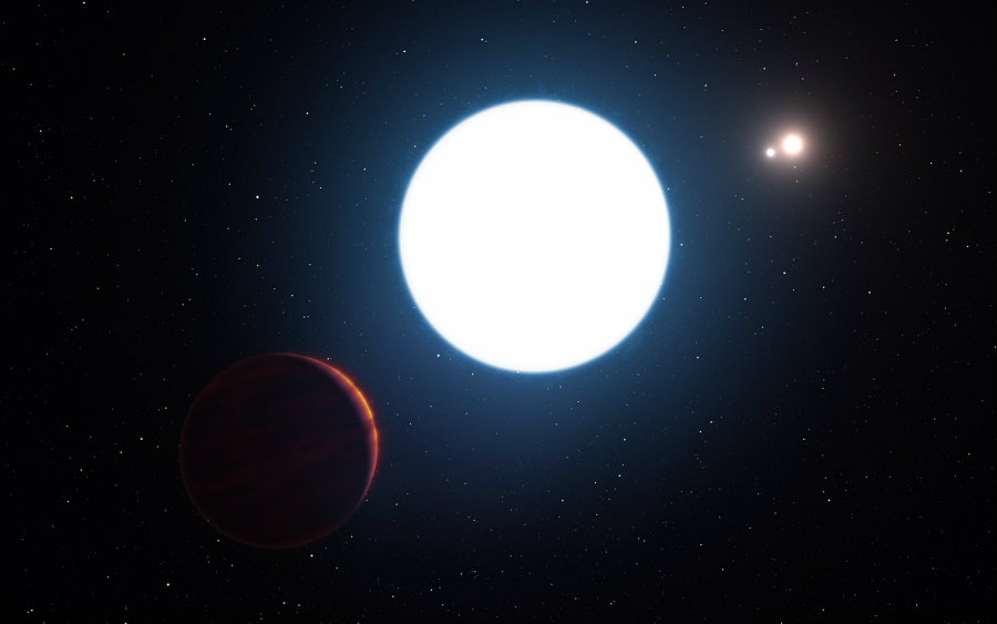 A newly discovered planet has been located orbiting three stars at the same time in a peculiar arrangement. Photo credit: ESO / L. Calçada / Gizmodo