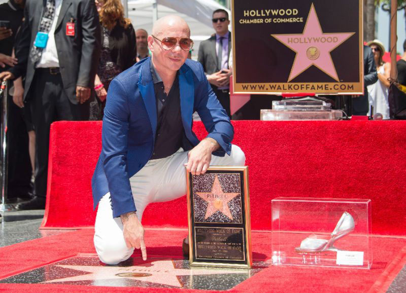 Rapper Pitbull is being honored with a star on the Hollywood Walk of Fame, on July 15, 2016 Credit: AFP Photo/Valerie Macon/Yahoo!
